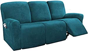 H.VERSAILTEX 8-Pieces Recliner Sofa Covers Velvet Stretch Reclining Couch Covers for 3 Cushion Sofa Slipcovers Furniture Covers Form Fit Customized Style Thick Soft Washable(Large, Deep Teal)
