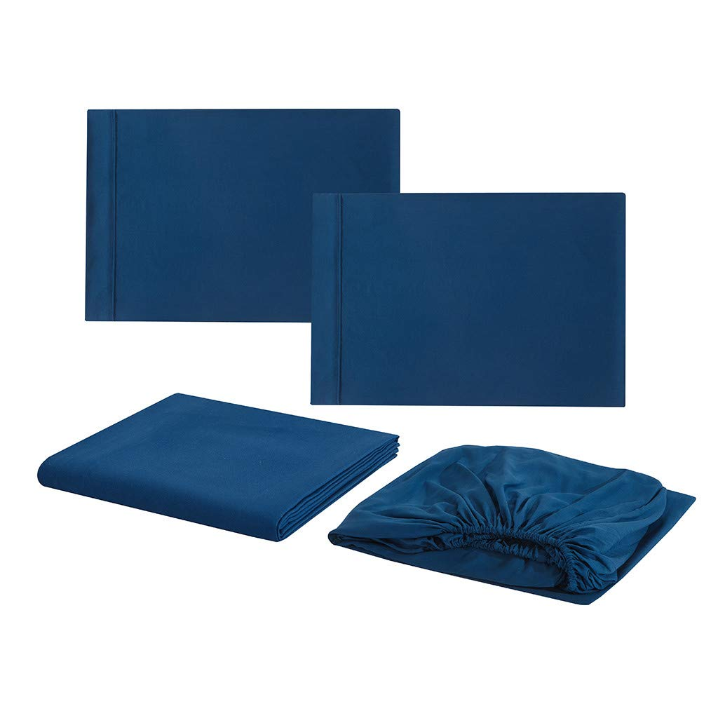 Startview Solid Color Simple Series Bedding Bed Sheets + Bed Cover + Pillowcase, Four Sets (Dark Blue, L)