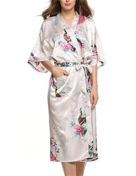 Traje para Dama Bata Kimono Bata Baño Noche De Cálido Mantón Satén Chic Ropa Estilo Largo Estampado Floral Pijama Camisón: Amazon.es: Ropa y accesorios
