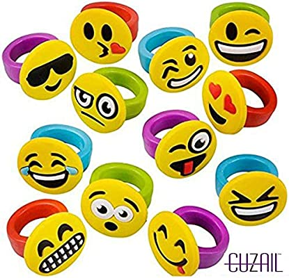 049d37602e70 Amazon.com  CUZAIL Emoji Party Favors - Party Supplies Rings - Smiley Face  Emoticon Rubber Party Toys - Bulk Pack of 18 - Entertainment Party Gifts   Toys   ...