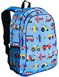 Kids 15 Inch Backpack for Boys and Girls, Perfect Size for Preschool, Kindergarten and Elementary School, 600-Denier Polyester Fabric Backpacks, BPA-free, Olive Kids(Trains, Planes and Trucks)