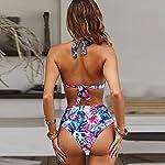 Voqeen-Costumi-da-Bagno-Donna-Vita-Alta-in-Due-Pezzi-Bikini-Swimsuit-Stampa-Floreale-Abiti-da-Spiaggia-Perizoma-Reggiseno-Imbottito-Halter-Bendare-Tankini