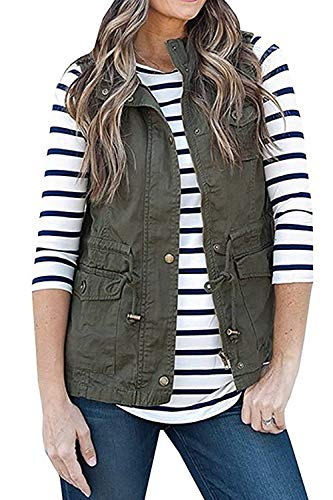 SENSERISE Womens Lightweight Sleeveless Military Anorak Drawstring Jacket Vest(Army Green,L)