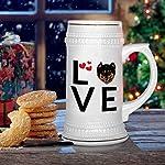 Custom Beer Mug Love Hearts English Shepherd Dog Ceramic Drinking Glasses Beer Gifts White 18 OZ Design Only 13