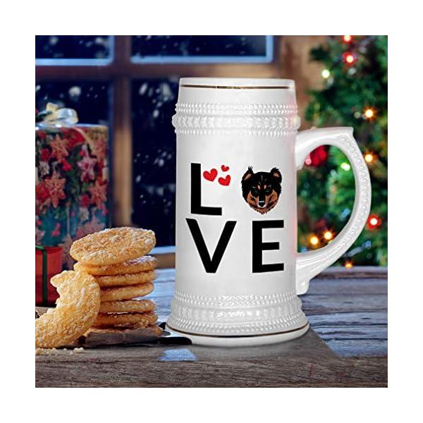 Custom Beer Mug Love Hearts English Shepherd Dog Ceramic Drinking Glasses Beer Gifts White 18 OZ Design Only 6