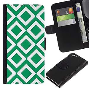 EJOY---La carpeta del tirón la caja de cuero de alta calidad de la PU Caso protector / Apple Iphone 6 / --Cuadros vintage papel pintado verde