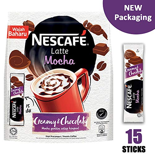 Nescafe 3 in 1 MOCHA Coffee Latte - Instant Coffee Packets - Single Serve Flavored Coffee Mix (15 Sticks) (Best 3 In 1 Coffee Philippines)