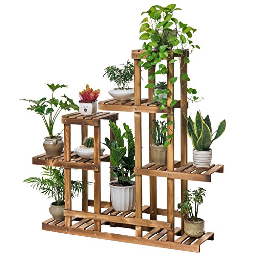 Balcony Flower Rack Foldable Living Room Multi-storey Indoor Solid Wood Flower Shelf Wooden Flower Pot Frame (carbon Baking Color) by LITINGMEI Flower rack
