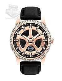 Harley-Davidson Bulova Women's Stainless Steel Leather Strap Watch. 78L111 by Harley-Davidson (Licensed)