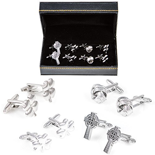 (MRCUFF Irish Ireland Clover Cross Shamrock Knot 4 Pairs Cufflinks in a Presentation Gift Box & Polishing Cloth)