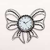 RFVBNM The Classic Home Crystal Bow Tie iron mute art living room continental modern creative Wall Clocks 6057cm wall clock