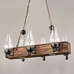 Jiuzhuo Industrial Loft Dark Distressed Wood Beam Large Pendant Light 6-Light Chandelier Lighting Hanging Ceiling Fixture