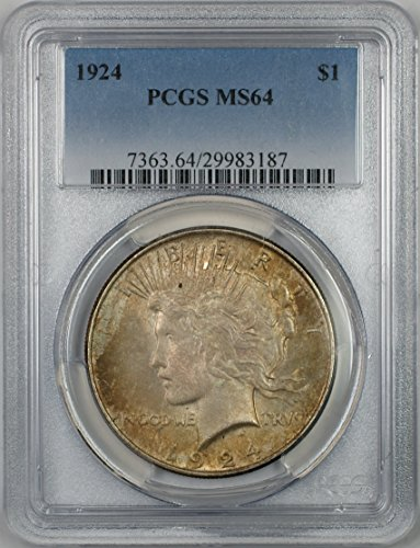1924 Peace Silver Dollar Coin $1 PCGS MS-64 Toned (2B)