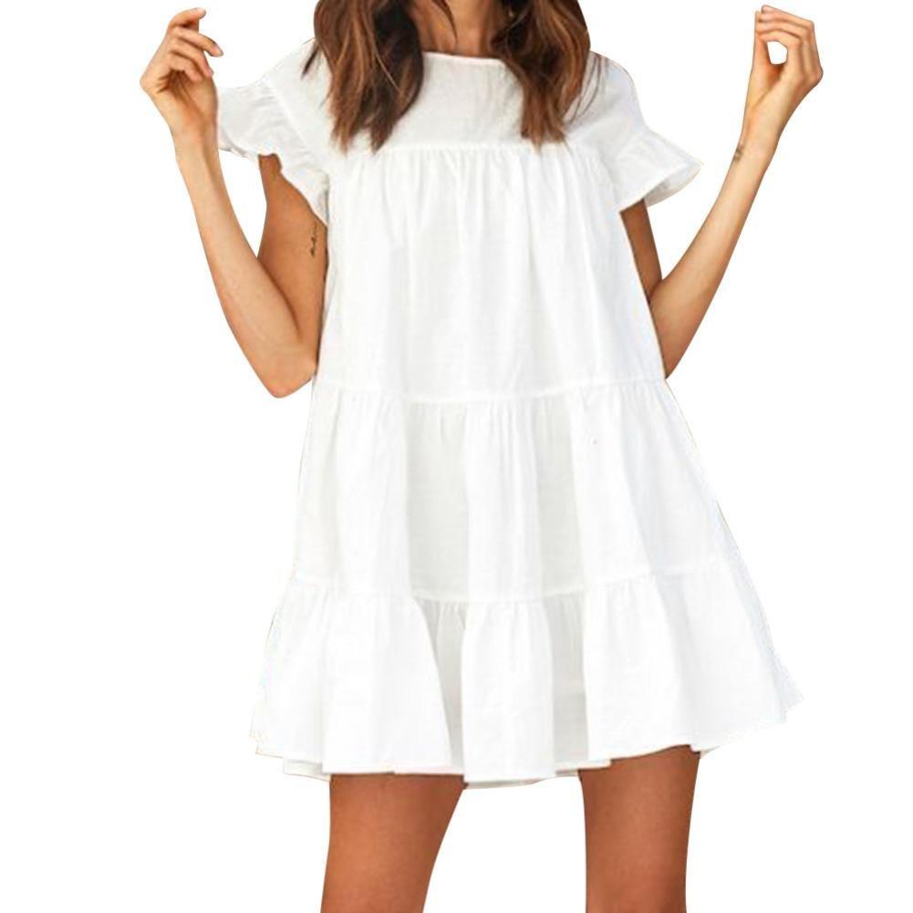 Womens Sexy Ruffle Short Sleeve Loose Boho Summer Sweet Mini Dress Casual Holiday Big Pendulum Dress Maternity Dresses (L, White)