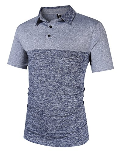 Yong Horse Men's Casual Golf Polo T Shirts Athletic Short Sleeve M Bluegrey (Stitch Golf)