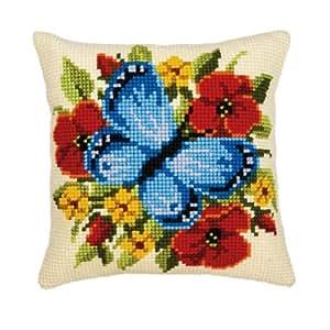 Vervaco - Kit para cojín de punto de cruz, diseño de mariposa y flores, multicolor