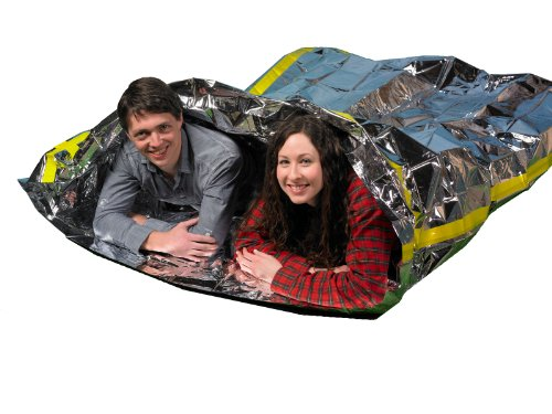 "Emergency Survival Mylar Thermal 2 Person Sleeping Bag - Accommodates 2 Adults - 64"" X 87""- by Grizzly Gear"