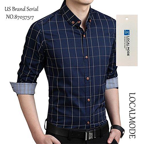 LOCALMODE 100% Cotton Long Fit Button Shirt,Navy
