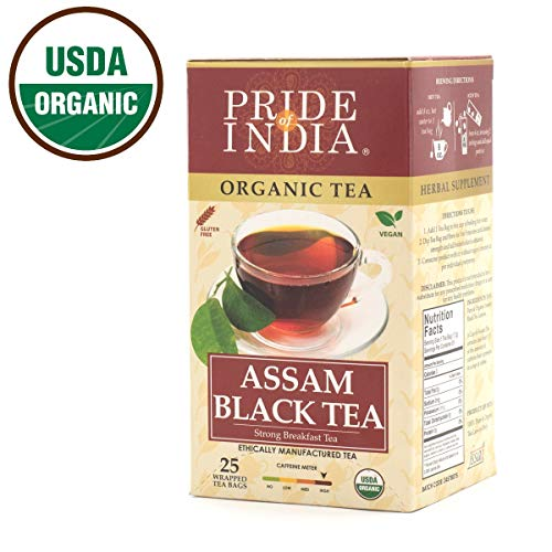 - Pride Of India Organic Indian Assam Black Tea, 25 Tea Bags
