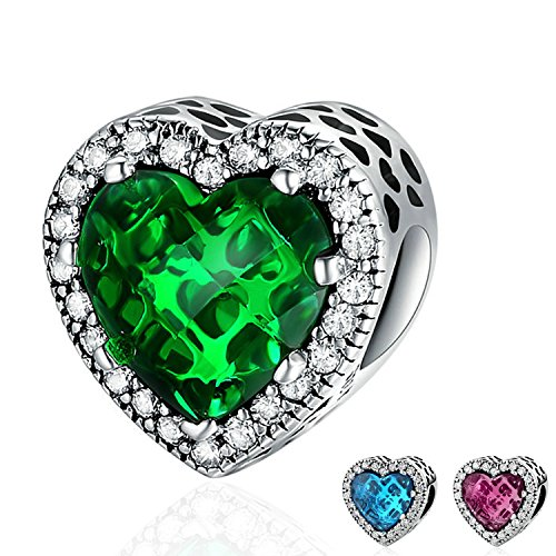 Ronglai Jewelry Sterling Silver Love Heart Bead Charms Red Blue Green Crystal Birthstone Charm fit Snake Chain Bracelets (Green Crystal Charm) (Crystal Pandora Charms)
