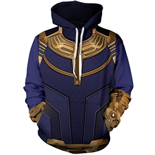HIMIC E77C Super Hero Fashion Cosplay Hoodie Jacket (Large, Thanos Hoodie)