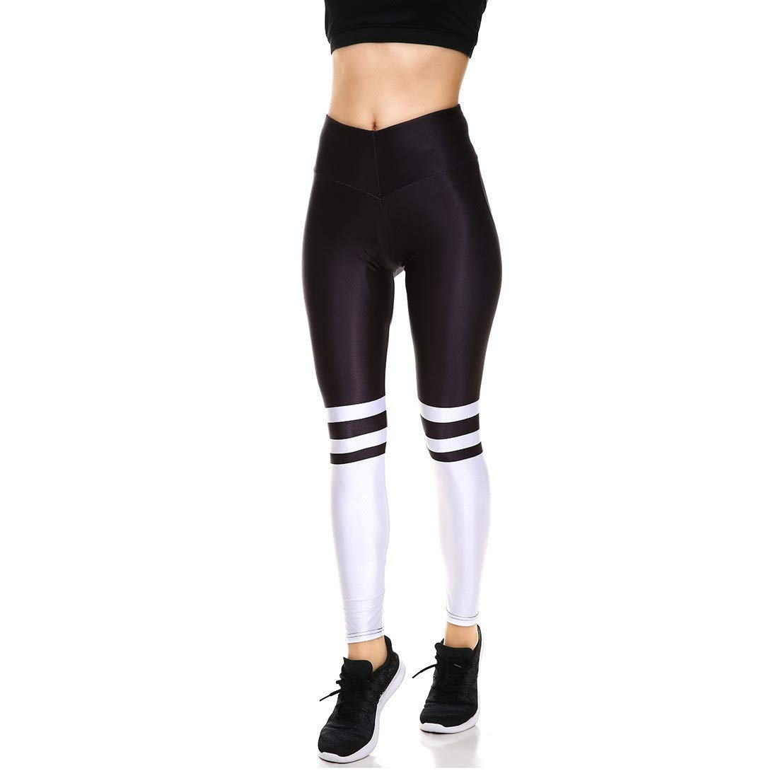Fanii Quare Women's High Waist Dri-Fit Running Tights Printed Training Compression Workout Pants Black White S