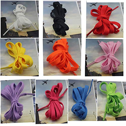 MosBug 20 Pairs 8mm 5/16 Width Flat Shoelace for Sneakers Boots Skateboard Hiking Athletic Sport Shoe (10 mixed color:2 pairs for each color)