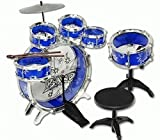 AMPERSAND SHOPS Kids Mini-Sized Blue Musical Instrument Drum Set 11pc Toy Playset