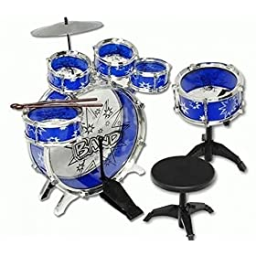 AMPERSAND SHOPS Kids Mini-Sized Blue Musical Instrument Drum Set 11pc Toy Playset 7
