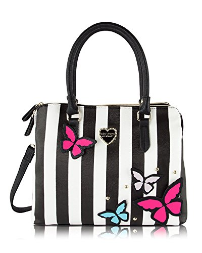 Betsey Johnson Be Mine Multi Compartment Tote Shoulder Bag - 3D Butterfly - Tote Betsey Black Johnson Leather Bag