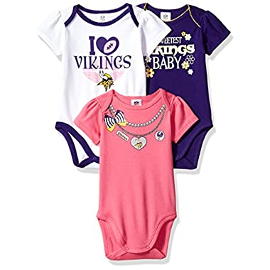 1b4a2821801 NFL Minnesota Vikings Girls Short Sleeve Bodysuit (3 Pack), 3-6 Months