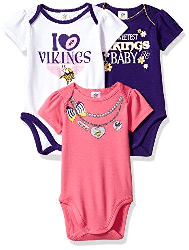c1dc0000e NFL Minnesota Vikings Girls Short Sleeve Bodysuit (3 Pack)