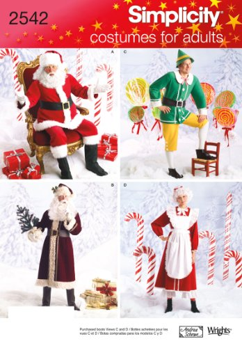 (Simplicity 2542 Santa, Elf and Mrs. Santa Sewing Pattern for Adults Christmas Costume by Wrights, Sizes XS-M)