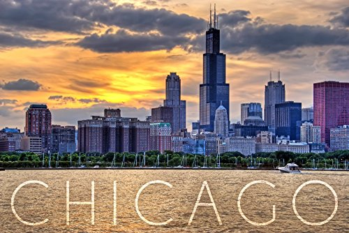 Chicago  Illinois   Moody Skyline  9X12 Art Print  Wall Decor Travel Poster