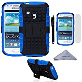 handy case samsung galaxy s3 mini - S3 Mini Case, Wisdompro [2 Piece in 1] Dual Layers [Heavy Duty] Hard Soft Hybrid Rugged Protective Case with [Foldable Kickstand] for Samsung Galaxy S3 Mini (NOT S3 Fit) - Blue / Black