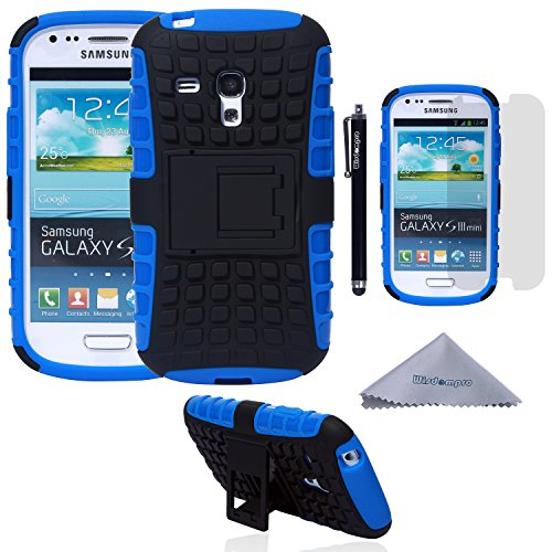 S3 Mini Case, Wisdompro [2 Piece in 1] Dual Layers [Heavy Duty] Hard Soft Hybrid Rugged Protective Case with [Foldable Kickstand] for Samsung Galaxy S3 Mini (NOT S3 Fit) - Blue / Black (S3 Cases Mini)