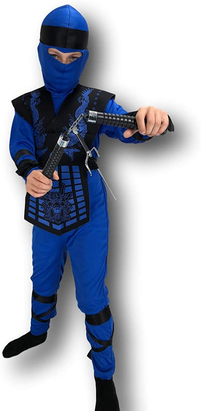 Amazon.com: Blue Neon Ninja Costume Rubber Johnnies, Kids ...