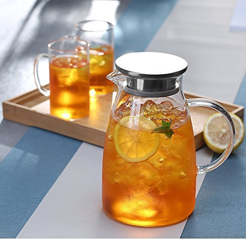 JIAQI 68 Ounces Glass Pitcher with Stainless Steel Lid, Hot/Cold Water Jug, Juice and Iced Tea Beverage Carafe by JIAQI (Image #7)