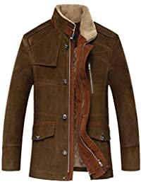 K3K Men's Winter Casual Stand Collar 100% Cotton Warm Thick Coat Suede Jackets