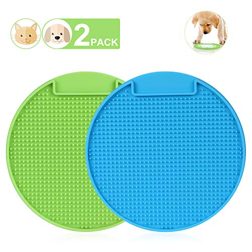 KASBAH 2 Pack Lick Mat for Dogs & Cats, Slow Feeder Pet Lick Pad, Licking Mat Perfect for Pet Treats Anxious Relief Boredom Buster Peanut Butter Yogurt Healthy & Fun for Pets, Green Blue…