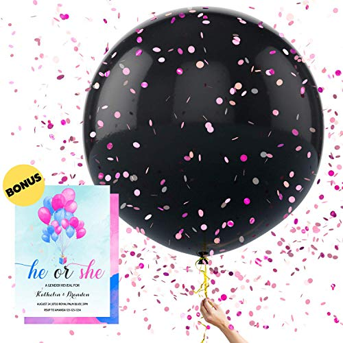 Baby Gender Reveal Balloon Kit by WeePrinces - Includes 2 Giant 36 Round Black Balloons with Blue and Pink Confetti - EXTRA-THICK Latex - ​Keeps Party Surprise Safe Until Popped - Easy to Fill