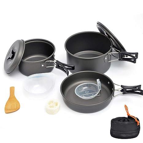 AOKASIX Kit de Utensilios de Cocina para Acampar Sartenes antiadherentes Juego de Cocina portátil para Acampar