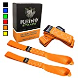 "RHINO USA Soft Loops Motorcycle Tie Down Straps (4pk) - 10,427lb Max Break Strength 1.7"" x 17"" Heavy Duty Tie Downs for use with Ratchet Strap - Secure Trailering of Motorcycles, Kayak, Jeep, ATV, UTV"