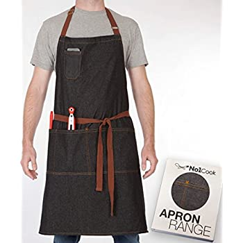 chef apron by no1cook durable cotton denim apron with pockets for men and women modern - Kitchen Apron