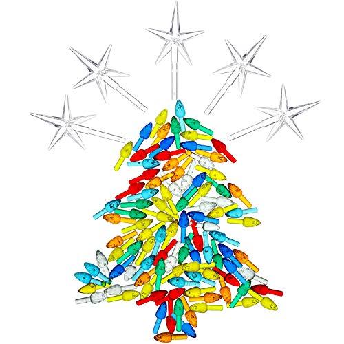 100 Pieces Plastic Christmas Tree Bulbs and 5 Stars Replacement Tree Bulb for Ceramic Christmas Tree Decorations