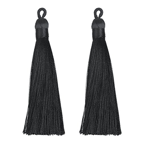 (Linsoir Beads 3.5'' Long Loop Silk Tassels with Solid Binding Handmade Decorative Tassels Jewelry Tassels Adornments Passementerie 10 pcs/lot)