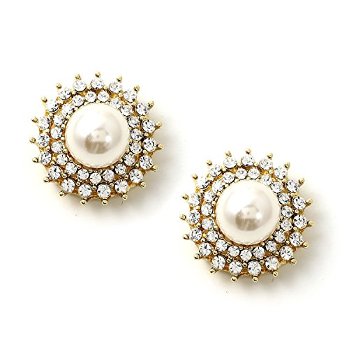 (Gold Half Dome Cream Pearl Center Wrapped with Crystal Rhinestone and Spikes Stud Earrings)