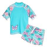 HUAANIUE Girls 2PCS Swimsuit 3-10Y Swimming Set Short Sleeve Swimwear Summer Beach Swimming Costume Outfit Sun suit Cyan 8-9Y