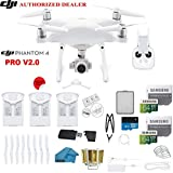DJI Phantom 4 PRO V2.0 Quadcopter Drone with 1-inch 20MP 4K Camera KIT + 3 Total DJI Batteries + 2 64GB Micro SDXC Cards + Reader + Snap on Prop Guards + Range Extender + Charging Hub + Remote Harness