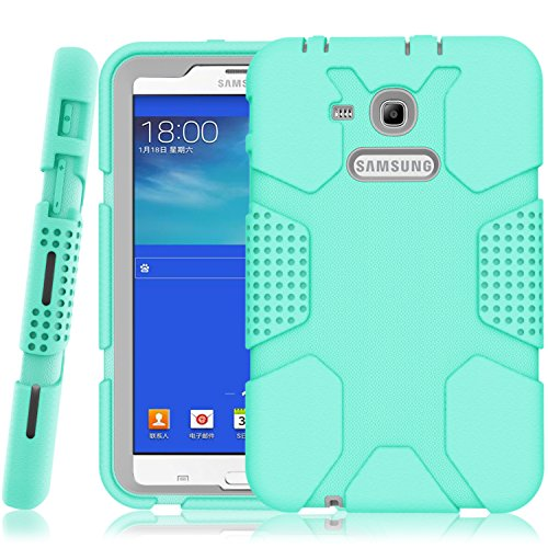 Samsung Galaxy Tab E Lite 7.0 Case, Galaxy Tab 3 Lite 7.0 Case, Hocase Rugged Heavy Duty Kids Proof Protective Case for SM-T110 / SM-T111 / SM-T113 / SM-T116 - Mint Green/Grey